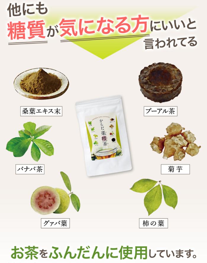 桑の葉エキス末プーアル茶バナバ茶菊芋グァバ茶柿の葉